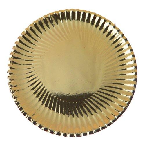 Pappteller gewellter Rand gold, 18 cm, 10 Stück