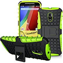 Moto G (2nda Generación) Funda, FoneExpert® Heavy Duty silicona híbrida con soporte Cáscara de Cubierta Protectora de Doble Capa Funda Caso para Motorola Moto G (2nda Generación) + Protector Pantalla (Green)