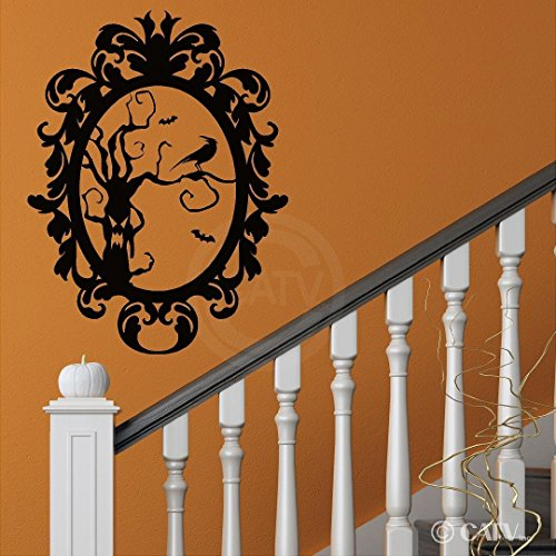 Halloween vinyl decal Frame #8 Scary Tree with Crow portrait vinyl lettering decal home decor wall art sticker (Large 22x29) by Wall Sayings Vinyl Lettering