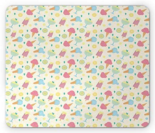 ASKSSD Ice Cream Mouse Pad, Sorbet Cone with Lemon and Strawberry Mint Flavor Frozen Dessert Childish Cartoon, Standard Size Rectangle Non-Slip Rubber Mousepad, Multicolor Mint Sorbet