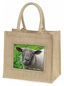 Advanta niedliche Schaf Love You Mum Große Einkaufstasche/Weihnachten Geschenk, Jute, beige/natur, 42x 34,5x 2cm