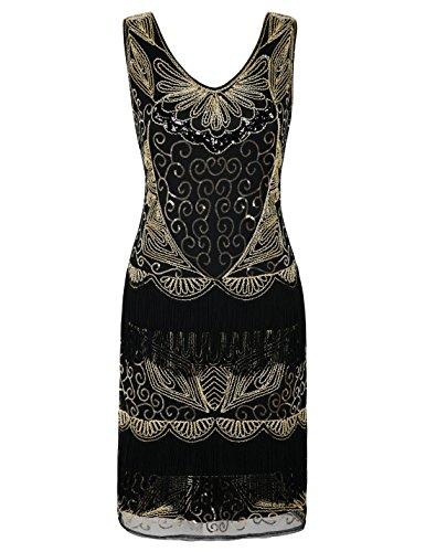 PrettyGuide Damen Brüllen 20s Kleid Fransen Charleston 1920s Flapper Dress L/EU44 Gold