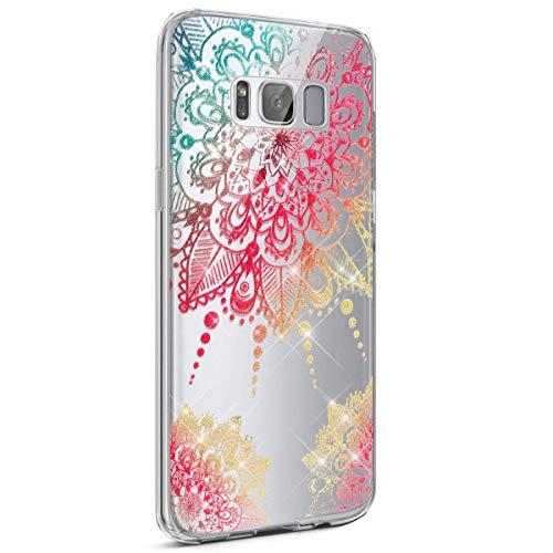 kompatibel mit Galaxy S8 Hülle,Galaxy S8 Hülle Glitzer,Muster Glänzend Glitzer Kristall Transparent TPU Silikon Schutz Handy Hülle Case Tasche Bumper für Galaxy S8 - Mandala (Vogel Mandala)