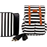 Kaydee Baby Canvas Diaper Tote Backpack Bag With Stroller Straps - Black And White Stripes (Black And White Stripe)