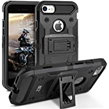 Cover iPhone 7, BEZ™ Heavy Duty Cover Belt Clip Holster Kickstand [Antiurto] Custodia Paraurti Rugged adatta per iPhone 7 - Nero