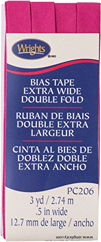Wright's Double Fold Bias Tape 1/2 X 3yd-Hot Magenta (Wrights Double Fold Bias Tape)