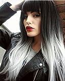 Die besten Shampoo Für geraden Haaren - AAwig Silber Ombre Grau Perücken Lange Gerade Haar Bewertungen