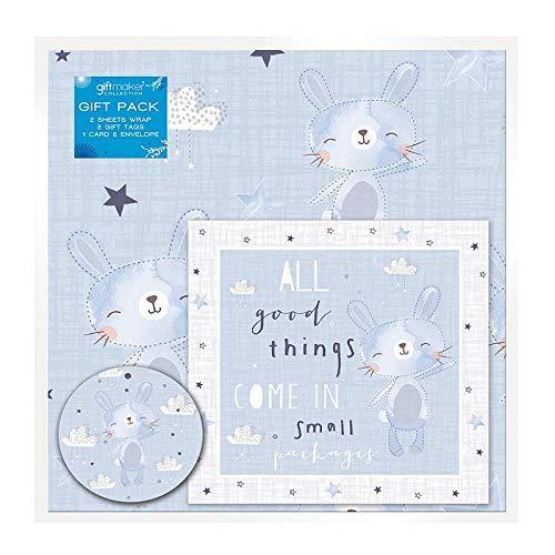 any 2 Blätter von Baby Junge Geschenkpapier, Karte & 2 Geschenketiketten Blau Neugeborene ()