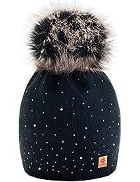 Winter Cappello Cristallo Più Grande Pelliccia Pom Pom invernale di lana Berretto Delle Signore Delle Donne Beanie hat Pera Sci Snowboard di moda MFAZ Morefaz Ltd (Black)