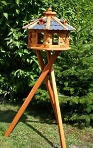super-grande 8-eckiges Maison d'oiseau, Mangeoire avec support bleu et Lucarnes Traité type 6