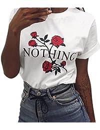 6ebd9425df9 Siswong Pull Chic Femme T-Shirt Eté Sweat-Shirt Ados Fille Imprimé Rose  Blanc