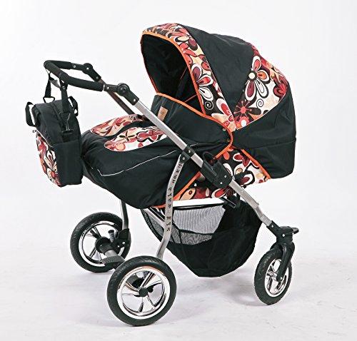 Zwillingskinderwagen mit viel Zubehör in 12 Farben und Räder zur Auswahl (Design 12)