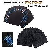 Baraja de cartas de póker impermeables con 54 cartas, con caja, con respaldo de color negro, azul