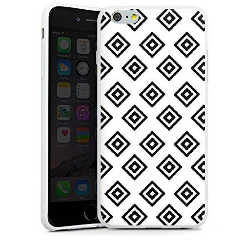 Apple iPhone X Silikon Hülle Case Schutzhülle Rauten Ethno Schwarz-Weiß Silikon Case weiß