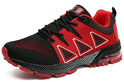 tqgold Scarpe da Running Uomo Donna Ginnastica Scarpe da Corsa Sportive Sneakers Nero Rosso Taglie 40