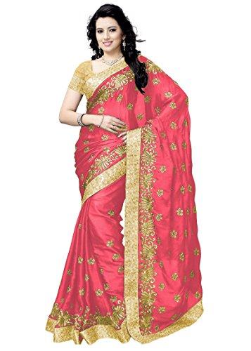 Panashtrends Women's Satin Saree (Ujj.K654, Multicolor, Free Size)