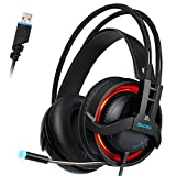 Sades R2 USB Suono Surround 7.1 Cuffie Gaming, Cuffie da Gioco Con Microfono Controllo del Volume Noise Cancelling e luce LED Per PC/Laptop/Mac(Nera)