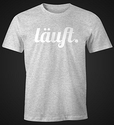 cooles lustiges Herren T-Shirt - läuft - Fun-Shirt Moonworks® Grau-Weiß