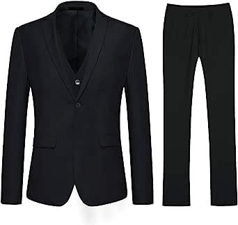 Mens Slim Fit 3 Piece Suit 1 Button Business Wedding Suits Elegant Blazer Vest Pants
