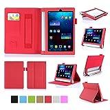 ISIN Housse pour Tablette Série Étui Premium PU avec Support pour Lenovo Yoga Tablet 2 YT2-830 et Tab 3 YT3-850 de 8.0 pouces Tablette Avec Sangle Velcro et Slot Cartes (Rouge)