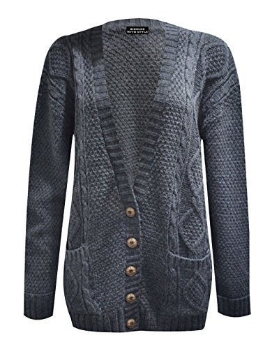 Da donna a maniche lunghe in cavo lavorato a maglia pulsante lungo da donna nonno Cardigan dimensioni 8-22 Charcoal