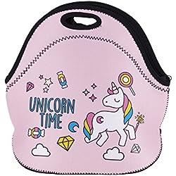 James tyle26Unicornio Unicorn Estrella Lunch–Bolsa para niña niño Lunch Box Bolsa de la compra Star Alimentos transporte niños para la guardería neopreno Picnic rosa Rosa