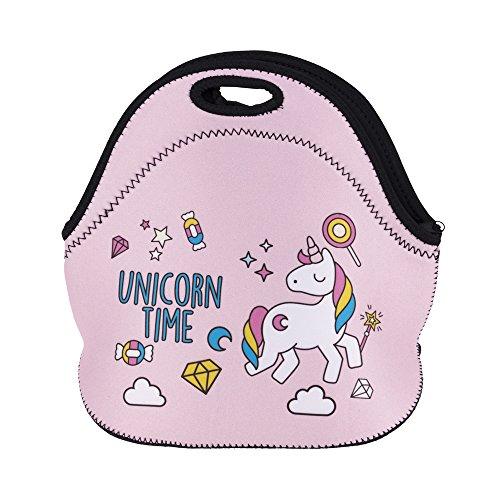 Jamestyle26 - borsa pranzo con motivo di unicorno con stelle, in neoprene, per bambini e bambine, idonea per il trasporto di alimenti per asilo e picnic.