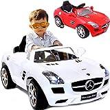 Baby-pur Kinder Elektroauto elektrisches Kinderauto Mercedes Benz SLS AMG 12V Akku 2 Motoren mit Fernsteuerung (Rot)