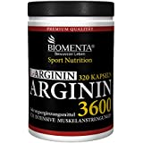 Biomenta L-ARGININ 3600 | HOCHDOSIERT | 320 Kapseln für ca. 4 MONATE | DEUTSCHE QUALITÄT | 3.652 mg pro Tag | Für aktive Frauen & Männer