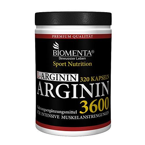 BIOMENTA L-ARGININ 3600 | HOCHDOSIERT | 320 Kapseln für ca. 4 MONATE | DEUTSCHE QUALITÄT | 3.652 mg Arginin Aminosäure pro Tag | Für aktive Frauen & Männer