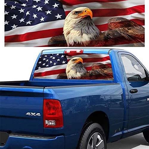 Auto Heckscheibe Amerikanische Flagge Adler Vinyl Aufkleber Aufkleber Dekoration Abzeichen Zubehör Für LKW Auto SUV Jeep,57.87inchx18.11inch (Heckscheibe Jeep Aufkleber)