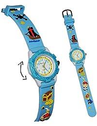 3-D Kinderuhr Pirat blau - Uhr Kinder Armbanduhr Silikon Schiff Piraten für Jungen Analog - Schatztruhe Piratenuhr Lernuhr