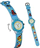 Unbekannt 3-D Kinderuhr Pirat blau - Uhr Kinder Armbanduhr Silikon Schiff Piraten für Jungen Analog - Schatztruhe Piratenuhr Lernuhr