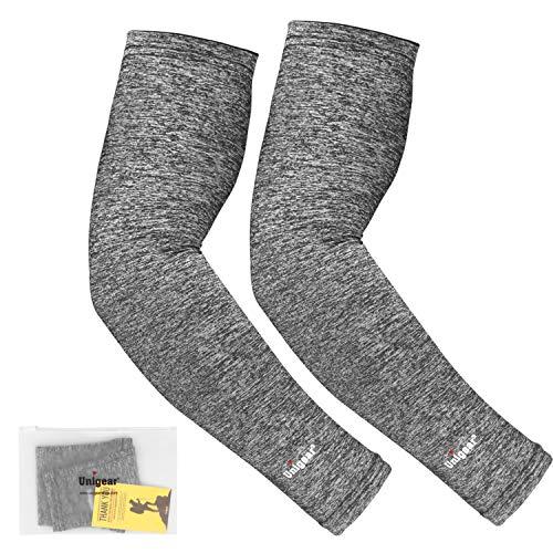 Unigear Arm Sleeves, Armlinge mit Kühleffekt und UV-Schutz, für Herren Damen, rutschfest, für Laufen Radsport Fußball Basketball Golf Wandern (Grau L) -