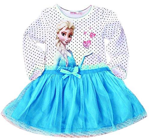Eyekepper vestido de princesa Frozen manga larga lunares tutu