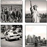 Visario Leinwandbilder 6605 Bild auf Leinwand New York USA, 4 x 30 x 30 cm, 4 Teile