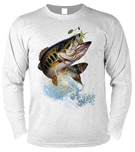 Herren Langarmshirt mit Motiv: Fish and hook - Angler Motiv, Fisch - Geschenk - Pullover, Pulli - Farbe: grau Grau