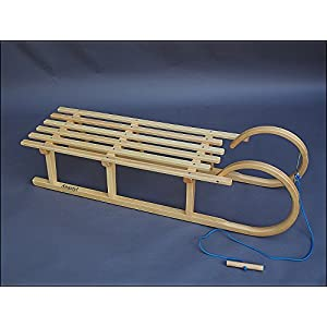 Best For Kids Hörnerrodel 120 cm mit Zugleine Rodelschlitten Davoser aus Holz bis 200 kg belastbar