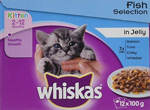 Whiskas, buste di cibo per gatti in gelatina, selezione di pesce