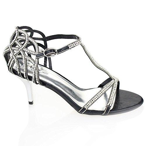 Aarz femmes Ladies Wedding Party Soirée Prom moyen talon Diamante Sandal Bridal Chaussures Taille (Or, Argent, Noir, Rouge) Noir