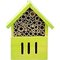 Bid Buy Direct® de madera natural insectos hotel–Naturalmente controles nivel de parásitos | alta resistencia contra condiciones meteorológicas y plagas infestaciones | de madera insectos Casa Nido & invernando ayuda para insectos beneficiosos | en 4colores, amarillo