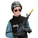 Amakando Polizeihelm Kind Polizei Helm schwarz Einsatzhelm Kinderhelm mit Visier Kinder-Polizeihelm Schutzhelm Kostümzubehör