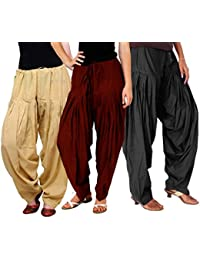 LuvCare 100% Pure Cotton Patiala Salwar for Womens(Beige, Brown and Black)