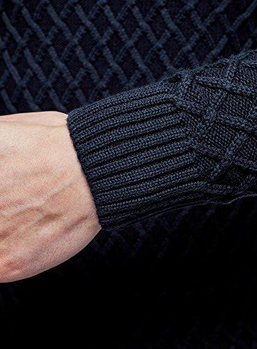 oodji Ultra Herren Pullover mit Texturiertem Stoff vorne und auf den Ärmeln Blau (7900N)