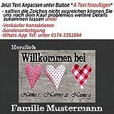 Eule-Design *Fußmatte Stoffherzen* Ihr persönliches Geschenk für die Familie - Paare* Romantisch (67x44)