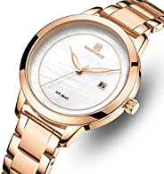 Naviforce Women's White Dial Stainless Steel Analog Watch - NF5008