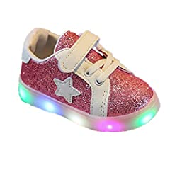 Idea Regalo - Elecenty Regalo Bambino Scarpe LED Stella Sportive Bambini Ragazzi Ragazza Scarpe con Luce Luminose Sneakers (Size:28, Rosa)