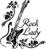 Graz Design 600164_57_070 Wandtattoo Rock Lady mit Gitarre   Wandsticker Jugendzimmer   Tattoo in 47 Farben (61x57cm//070 schwarz)