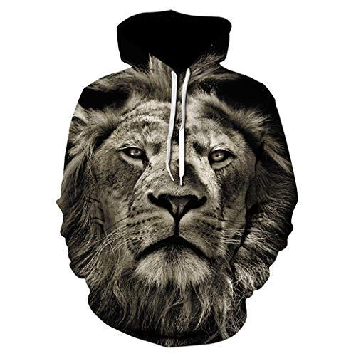 König Herren Kostüm Löwe - LQQSTORE Herren Kapuzenpullover Löwe 3D Druck König Langarm Hoodies Sweatershirt Tops Shirt Herbst Frühling Sweatjacke Crop Training Camp Kostüm (Dunkelgrau, M)
