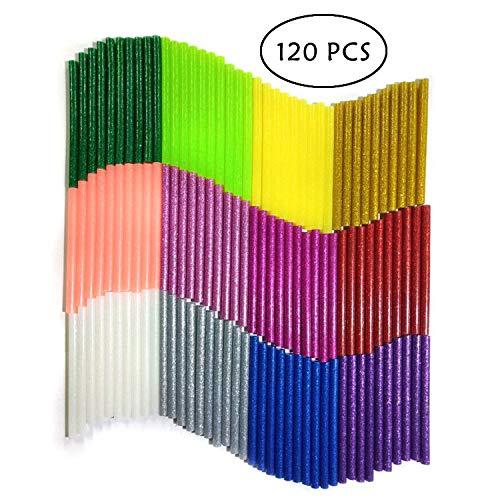 Barras de Pegamento Termofusible, YLX Barras de Silicona Caliente 120 piezas Adhesivos Coloreados del Arma del Pegamento para DIY Oficio del arte Caza de Focas y Reparacion Rapida 12 colores